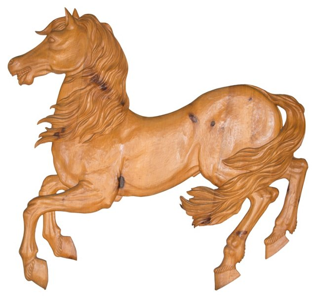 Wood Horse Wall Sculpture