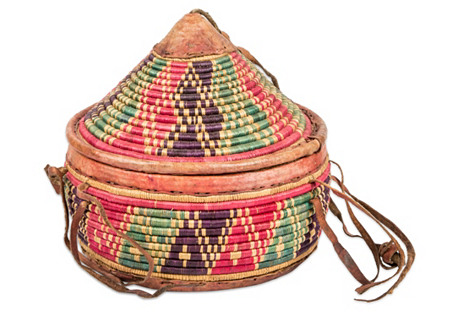 African Woven Basket w/ Leather Handles