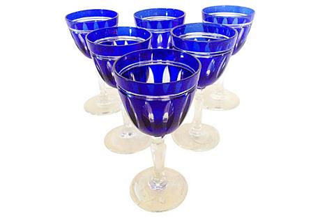 Cobalt Blue Cut Crystal Cordials, Set/6