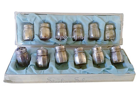 Sterling Individual Salt & Peppers, S/12