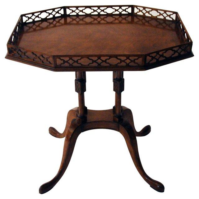 Walnut Side Table w/ Fretwork Gallery