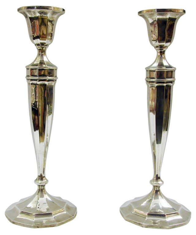 Sterling Silver Candlesticks, Pair