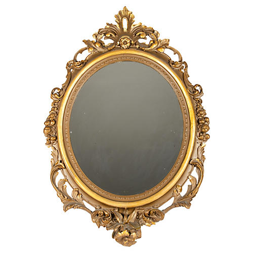 19th-C. Gold Gesso Mirror