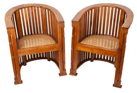 Arts & Crafts Barrel Oak Chairs, Pair