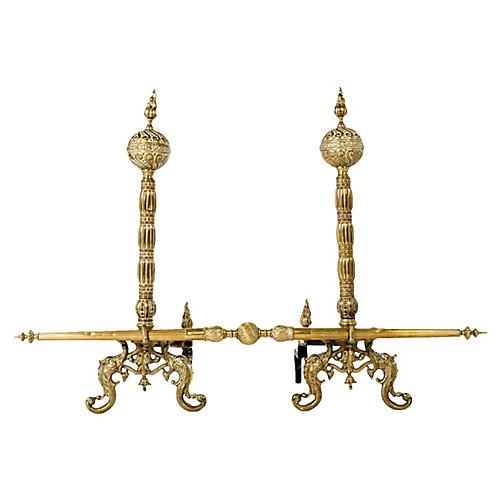 Tall Antique Brass Andirons, Pair