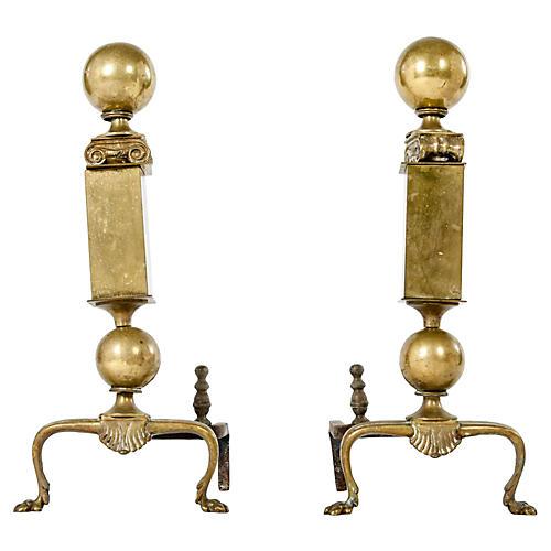 Antique Brass Ionic Andirons, S/2