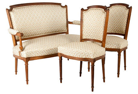 French  Settee Set, S/3