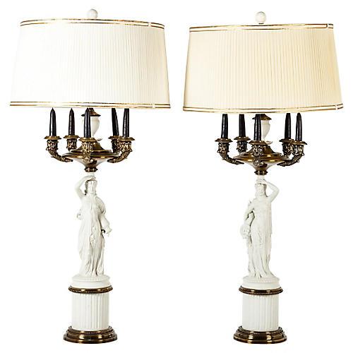 Antique French Porcelain Lamps, Pair