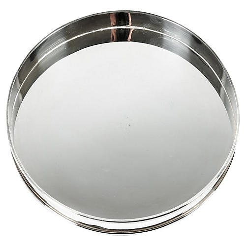 English Round Silver-Plated Tray