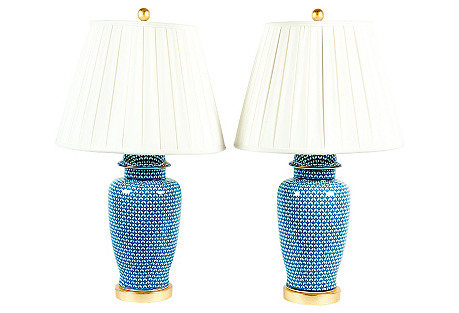Goyard Porcelain Ginger Jar Lamps, Pair