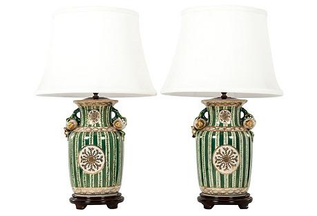 Porcelain Table Lamps, Pair