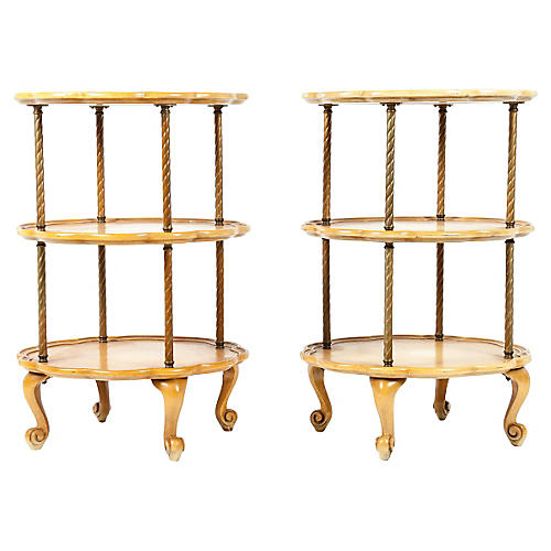 Midcentury Three-Tier Side Tables, S/2