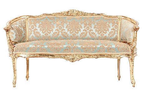 Antique Gilded Louis XVI-Style Settee