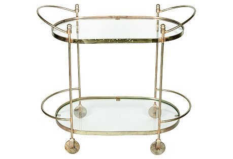 Midcentury Oval Brass Bar Cart