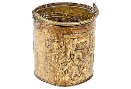 Antique English Brass Log Bucket