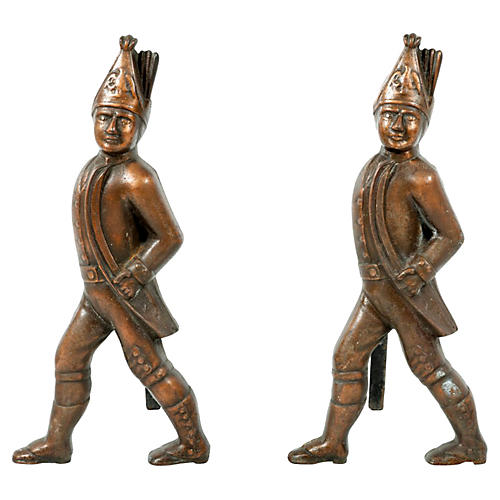 Hessian Soldier Figural Andirons, Pair