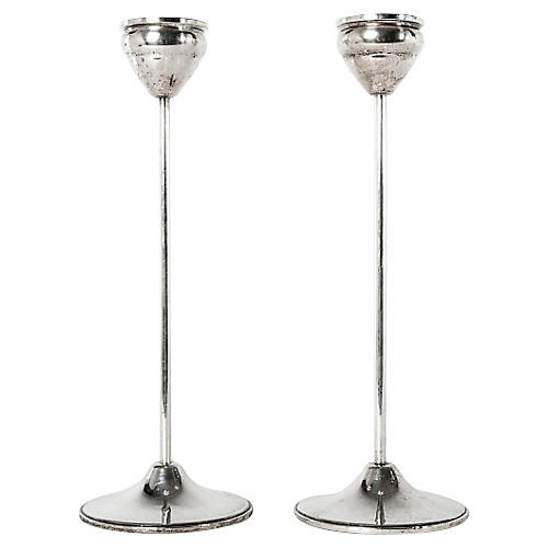 Sterling Silver Candlesticks, S/2