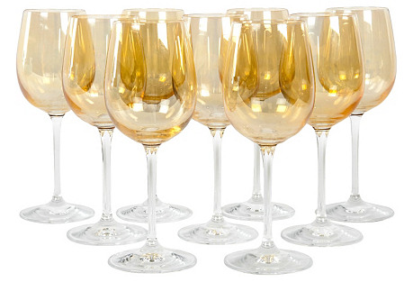 Midcentury Iridescent Wineglasses, S/9