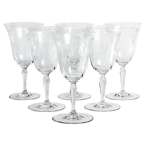 Etched Crystal Wineglasses, S/6