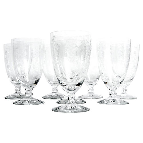 Etched Crystal Glasses, S/8