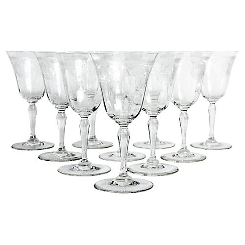 Etched Crystal Glassware, S/10
