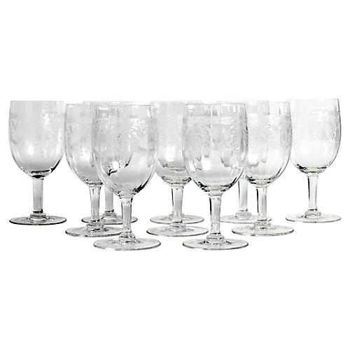 Etched Crystal Wineglasses, S/10