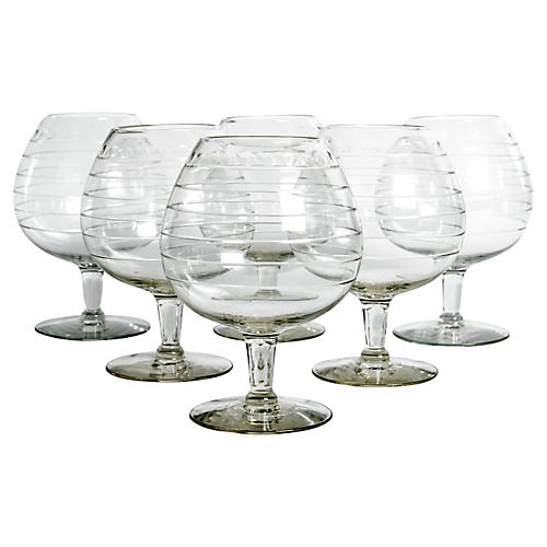 Cut-Crystal Brandy Glasses, S/6