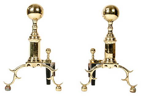 Antique Solid Brass Andirons, Pair