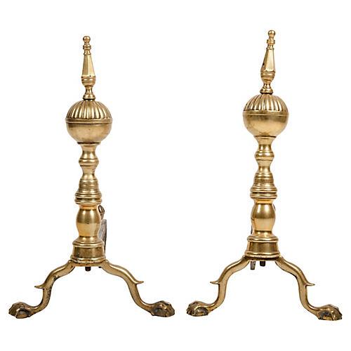 Federal Brass Antique Andirons, Pair