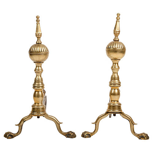 Federal Brass Antique Andirons, Pair