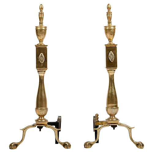 Brass Andirons, Pair
