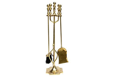 Brass English Fire Tools Set