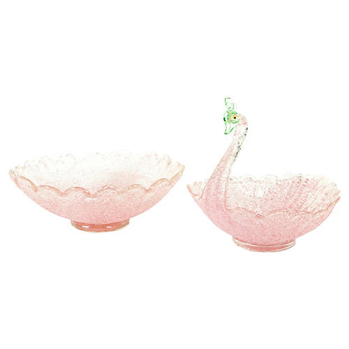 Pink Murano Glass Centerpieces, S/2