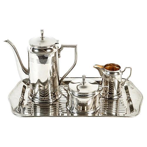 Vintage Art Deco Chrome Tea/Coffee Set