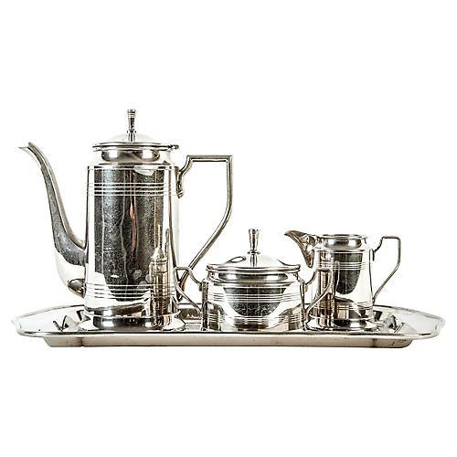 Vintage Art Deco Chrome Tea/Coffee Set
