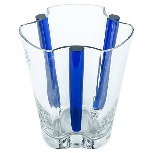 Vintage Art Deco Style Crystal Vase .