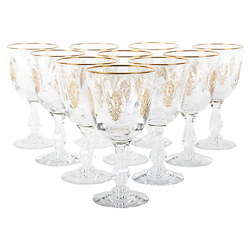 Cut-Crystal Wineglasses, S/10