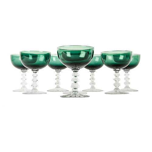 Vintage Green Crystal Champagne Coupe .