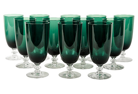 Vintage Set Green Crystal Water / Juice.