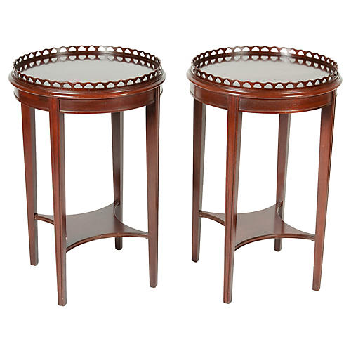 Antique Mahogany Side Tables, Pair