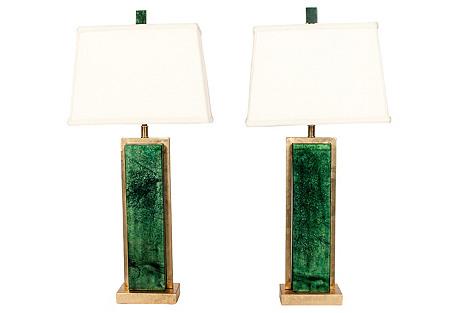 Green Jade & Brass Lamps, S/2