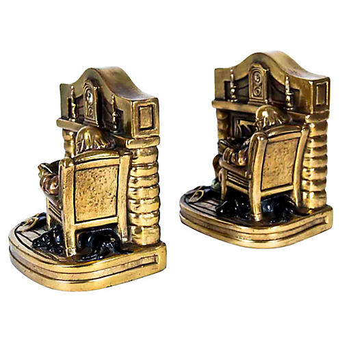 24K Gold-Plated Bookends, Pr