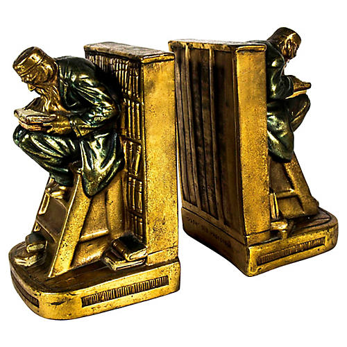 Heavy Gold-Plated Bookends, Pr