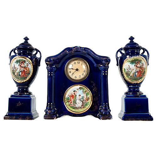 English Porcelain Deco Garniture, 3 Pcs