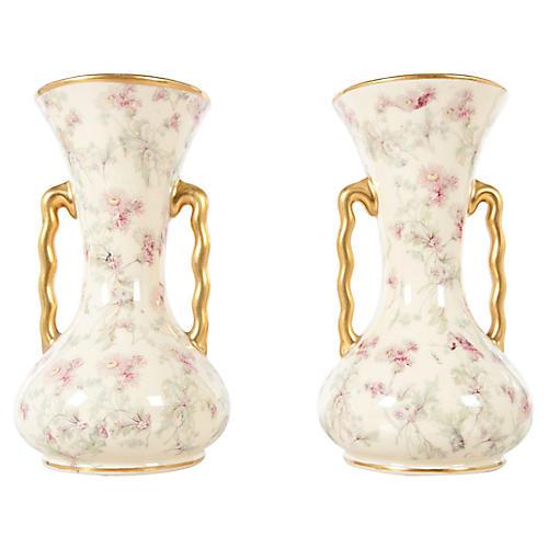 English Porcelain Vases, Pair