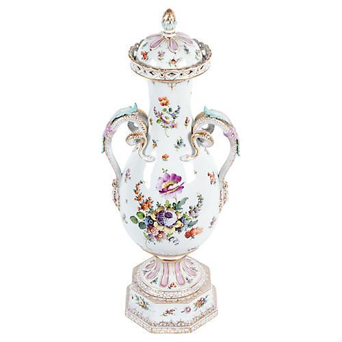 Antique Tall Porcelain Lidded Urn