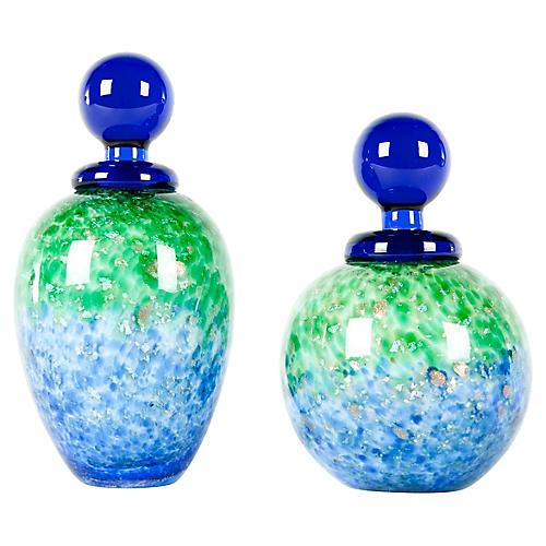 Murano Glass Perfume Bottles, Pair