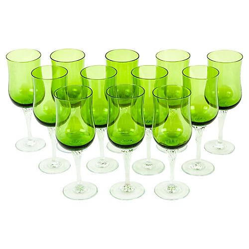 Crystal Champagne Glasses, S/12