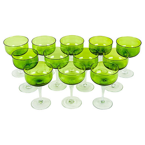 Crystal Champagne Coupes, S/10