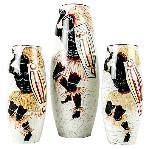 Porcelain Deco Vases, 3 Pcs
